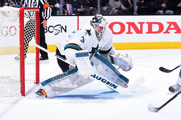 LOS ANGELES, CA - NOVEMBER 30: Martin Jones #31 of the San Jose Sharks defends the goal during a game against the Los Angeles Kings at STAPLES Center on November 30, 2016 in Los Angeles, California. (Photo by Juan Ocampo/NHLI via Getty Images) *** Local Caption ***