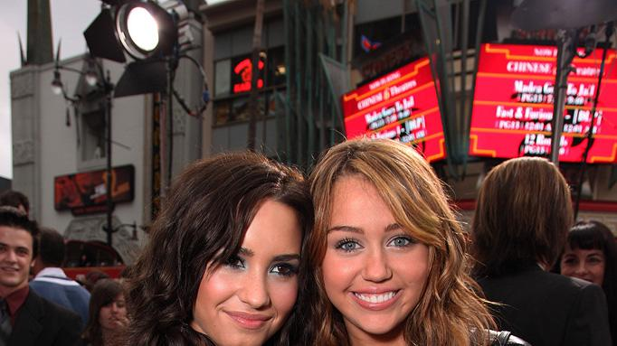 The Hannah Montana Movie LA premiere 2009 Demi Lovato Miley Cyrus