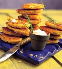Northern Iowa: Corn Cakes With Fresh Corn and Chive