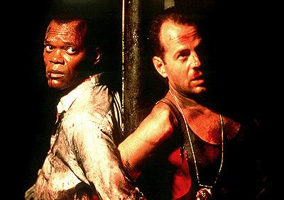 Samuel L. Jackson as Zeus and Bruce Willis as John McClane in 20th Century Fox's Die Hard With A Vengeance