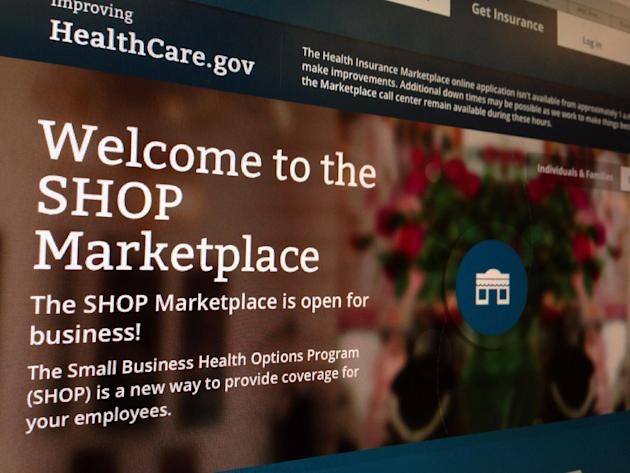FILE - This Wednesday, Nov. 27, 2013, file photo, taken in Washington, shows part of the HealthCare.gov website page featuring information about the SHOP Marketplace. People who have accounts on the e