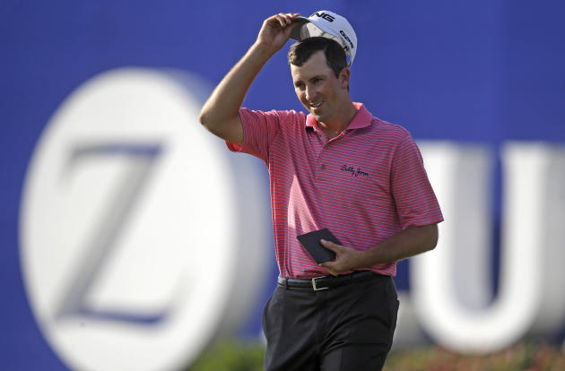 Michael Thompson reacts after missing a shot on the 9th green during the opening round of the PGA Zurich Classic golf tournament at TPC Louisiana in Avondale, La., Thursday, April 24, 2014. (AP Photo/