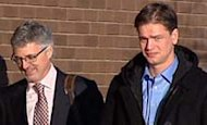 Justin Frank, right, enters the Leduc provincial court building with lawyer Rick Muenz in November 2012.