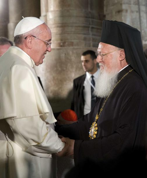 Pope Francis and Constantinople Patriarch Bartholomew attend a ceremony in the Church of the Holy Sepulchre, in Jerusalem