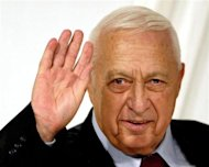 Israeli Prime Minister Ariel Sharon gestures at the end of his Likud Party's women conference in Tel Aviv in this March 10, 2005 file photo.