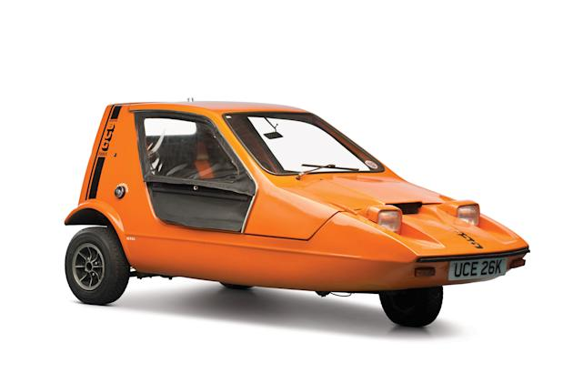 Lot 274 from the The Bruce Weiner Microcar Museum sale - 1972 Bond Bug 700E. The orange three-wheeler is expected to be auctioned for at least £12,000 (SWNS)