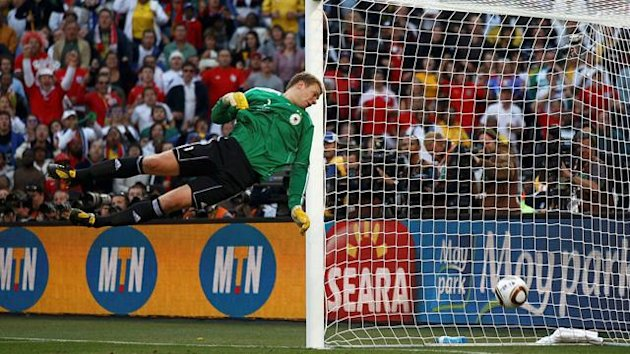 Manuel Nueur watches Frank Lampard's shot in the 2010 World Cup drop over the line - it was not given