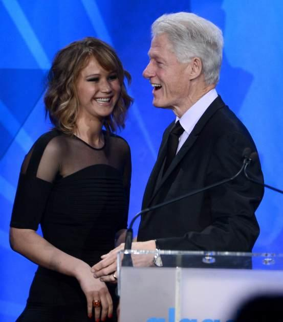 Jennifer Lawrence presents Former President of the United States Bill Clinton with the Advocate for Change Award onstage during the 24th Annual GLAAD Media Awards on April 20, 2013 in Los Angeles -- Getty Images