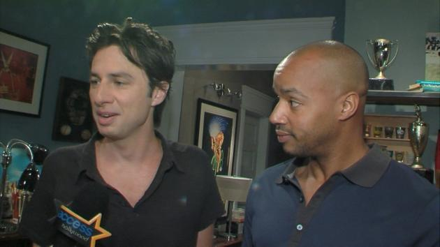 Zach Braff and Donald Faison on the set of 'The Exes,' August 14, 2012 -- Access Hollywood