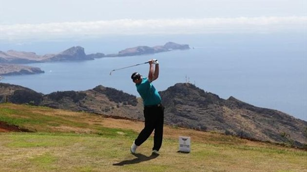Jamie McLeary of Scotland hits his tee shot on the 5th hole during Day Three of the Madeira Islands Open at Santo da Serra Golf Course on May 12, 2012 in Funchal, Madeira, Portugal