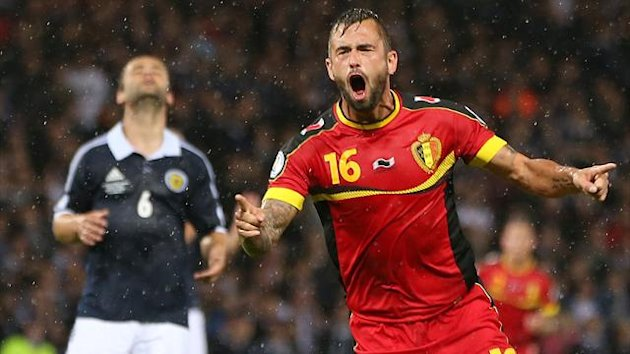 Steven Defour celebrates scoring for Belgium against Scotland