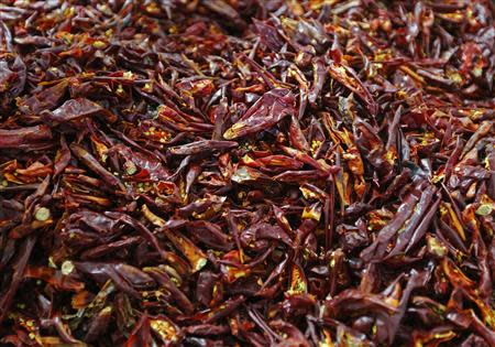 A batch of dried red peppers is pictured near Batya