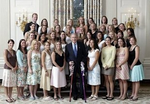 In 2005, members of Northwestern University's lacrosse team famously wore flip-flops when posing with then-president George W. Bush in the White House. Photo by David Bohrer, White House