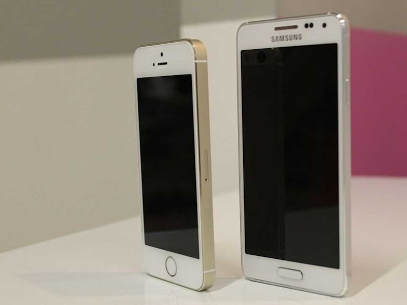 samsung galaxy alpha next to iPhone 5S