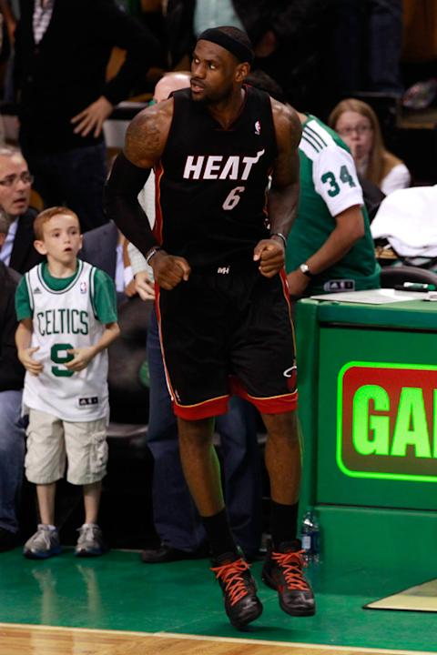 LeBron James #6 Of The Miami Heat Reacts Getty Images