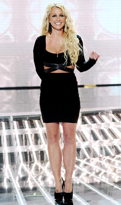 Britney Spears Reveals Toned Abs in Sexy Black Dress on The X Factor