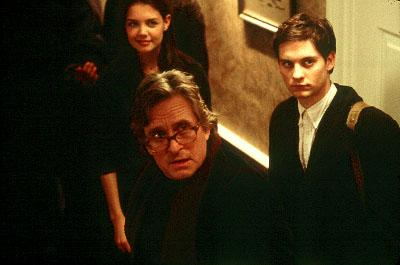 Katie Holmes as Hannah Green, Michael Douglas as Grady Tripp and Tobey Maguire as James Leer in Paramount's Wonder Boys