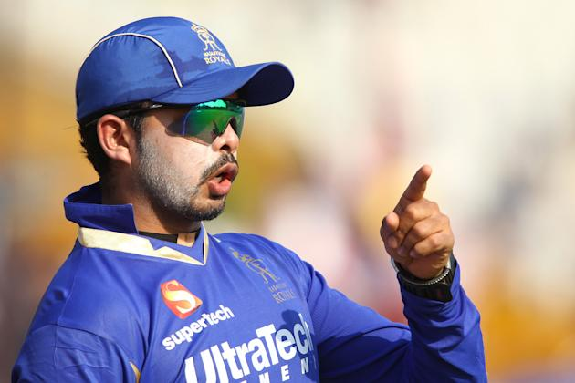 Sree Sreesanth of Rajasthan Royals during match 55 of of the Pepsi Indian Premier League between The Kings XI Punjab and the Rajasthan Royals held at the PCA Stadium, Mohali, India on the 9th May 2013
