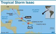 Map showing path of Tropical Storm Isaac, plus forecast path