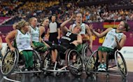 Germany's Annabel Breuer (C) and Australian players during their women's wheelchair basketball final at the London Paralympics on September 7. Germany beat Australia 58-44 to condemn the Gliders to a third Paralympics final defeat