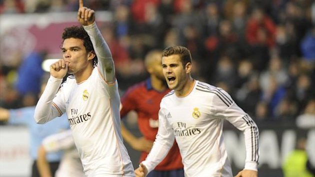 Pepe scores for Real Madrid against Osasuna