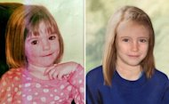A combination of images created on April 25 shows an undated picture of missing British girl Madeleine McCann when she was three years old (left) and a computer-generated image released by the Metropolitan Police Service showing how police believe Madeleine would look like aged 9. Portuguese police say they have no new evidence that would give them cause to reopen the inquiry