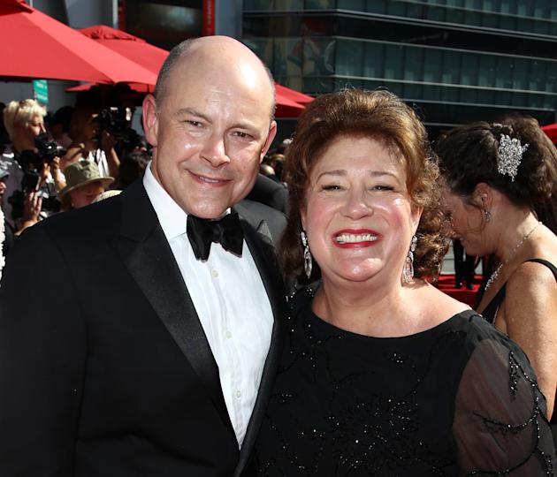 From left, Rob Corddry and Margo Martindale arrive at the 2013 Primetime Creative Arts Emmy Awards, on Sunday, September 15, 2013 at Nokia Theatre L.A. Live, in Los Angeles, Calif. (Photo by Matt Sayl