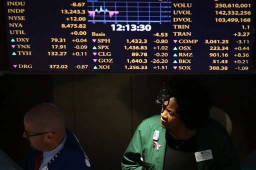 "Traders work on the floor of the New York Stock Exchange (NYSE) in New York City on December 20, 2012. US stocks dipped during a shortened Christmas Eve session Monday amid pessimism about prospects for a ""fiscal cliff"" deal by the end of the year."