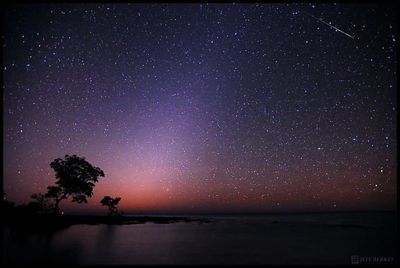 Astrophotographer Jeff Berkes took this photo of the Quadrantid meteor shower on Jan. 4, 2012.