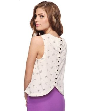 Button Bow Back Top
