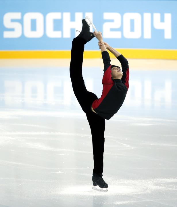 Martinez of the Philippines skates during a figure skating training session in preparation for the 2014 Sochi Winter Olympics, in Sochi