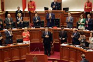 Outgoing European Commission President Jose Manuel Barroso addresses the Albanian Parliament during his visit to Tirana Monday, June 30, 2014. Albania was granted candidate status from the EU bloc last week. (AP Photo/Hektor Pustina)