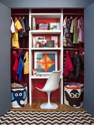 Create a Desk in a Kid's Closet