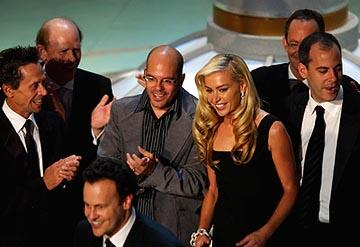 "Brian Grazer, Ron Howard, Mitchell Hurwitz, David Cross, Portia de Rossi and Will Arnett of ""Arrested Development"" Outstanding Comedy Series Emmy Awards - 9/19/2004"