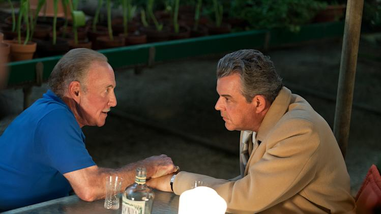"This publicity image released by Starz, James Caan, left, and Danny Huston in a scene from the second season of the series ""Magic City,"" set in Miami, Fla. The second season premieres Friday, June 14 at 9 p.m. on Starz. (AP Photo/Starz, Justina Mintz)"