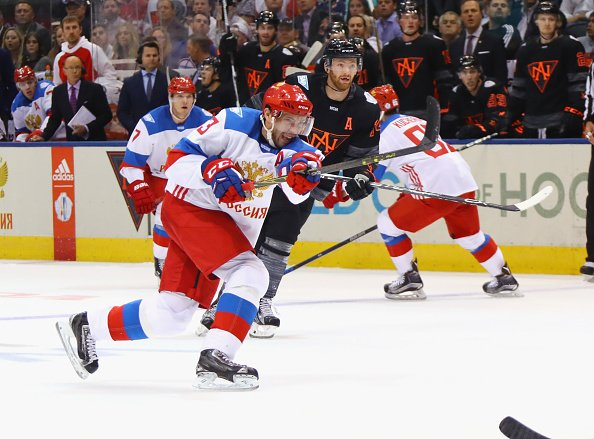 TORONTO, ON - SEPTEMBER 19: Pavel Datsyuk #13 of Team Russia takes the first period shot against Team North America during the World Cup of Hockey tournament at the Air Canada Centre on September 19, 2016 in Toronto, Canada. (Photo by Bruce Bennett/Getty Images)