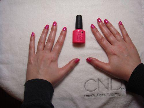 I chose Tutti Frutti, a bright pink shade, for my Shellac manicure. Many women stay away from bold colors when they get their nails done because they show chips easier, but I decided to put CND's