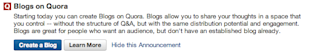 Quora Introduces Bloggers to Over 500,000 Readers image Quora Blog Creation 1