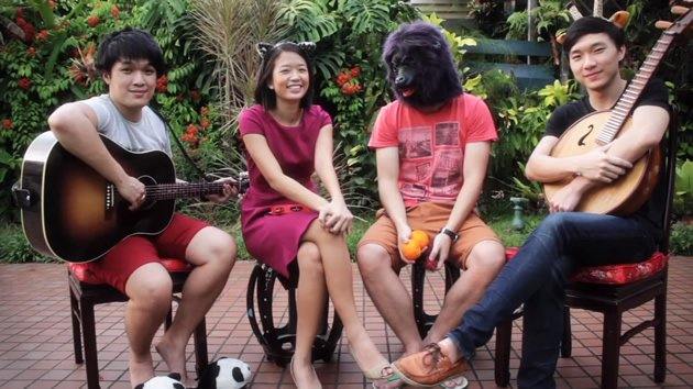 Four of the five people who make up The Animal Parade: (from left to right) Jonathan Liang, Tan Siling, Kennick Kek and Kelvin Tan. (YouTube screengrab)