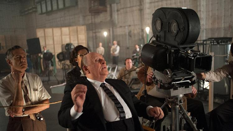 "This publicity film image released by Fox Searchlight shows Anthony Hopkins as Alfred Hitchcock in ""Hitchcock."" The new film ""Hitchcock,"" which is set during the making of the ""Psycho,"" is only the latest expression of never-ending obsession of Hitchcock's most influential masterpiece. (AP Photo/Fox Searchlight, Suzanne Tenner, File)"