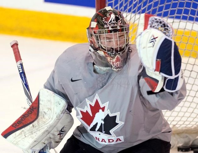 Team Canada's goaltender Eric Comrie THE CANADIAN PRESS/Ryan Remiorz