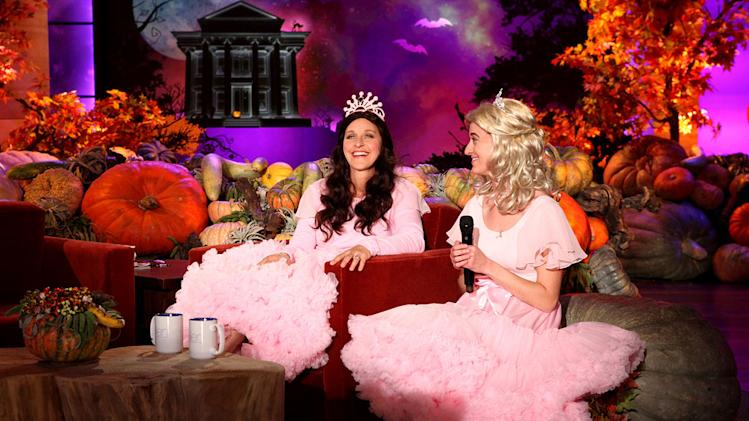 "Ellen reveals her costume as Youtube singing sensation Sophia Grace on the Halloween episode of ""The Ellen DeGeneres Show."""