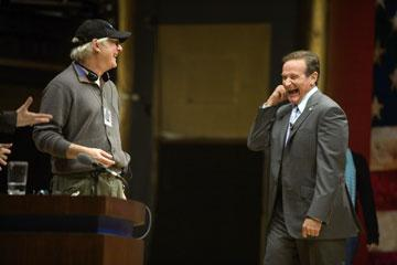 Director Barry Levinson and Robin Williams in Universal Pictures' Man of the Year