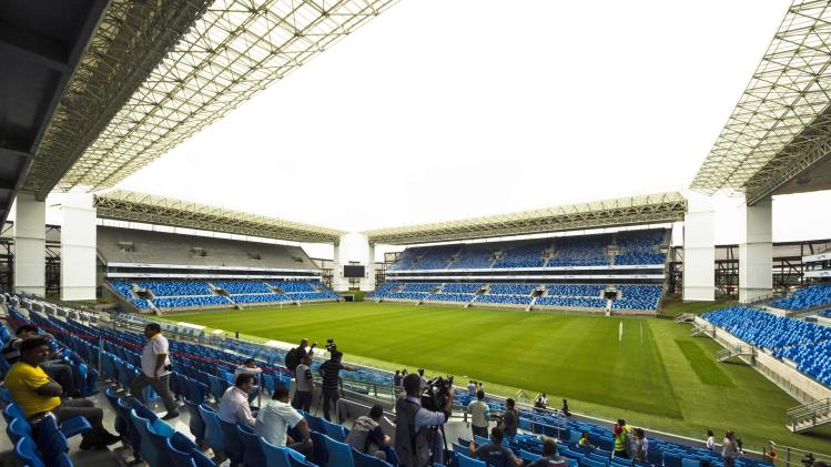 The interior of the Arena Pantanal soccer stadium is pictured in Cuiaba