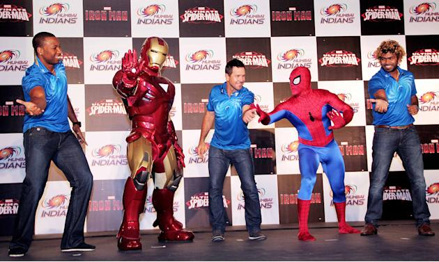 The Mumbai Indians took some time off to catch up with Spiderman and Iron Man.