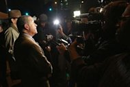 Los Angeles County Sheriff's Department spokesman Steve Whitmore speaks to the media after Dr. Conrad Murray was released from jail, in Los Angeles, California October 28, 2013. REUTERS/Jonathan Alcorn