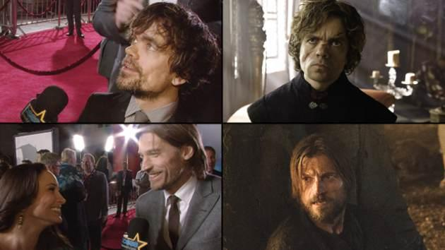 Peter Dinklage (top left and top right); Nikolaj Coster-Waldau with AccessHollywood.com's Laura Saltman (bottom left); Nikolaj as Jaime Lannister (bottom right) -- Access Hollywood/Helen Sloan/HBO