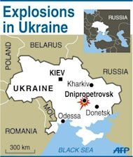 Map of Ukraine, locating explosions in Dnipropetrovsk