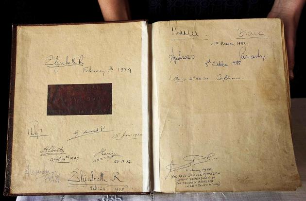 The First Fleet Bible is pictured after being signed by Britain's Prince William and Catherine, Duchess of Cambridge, in Sydney