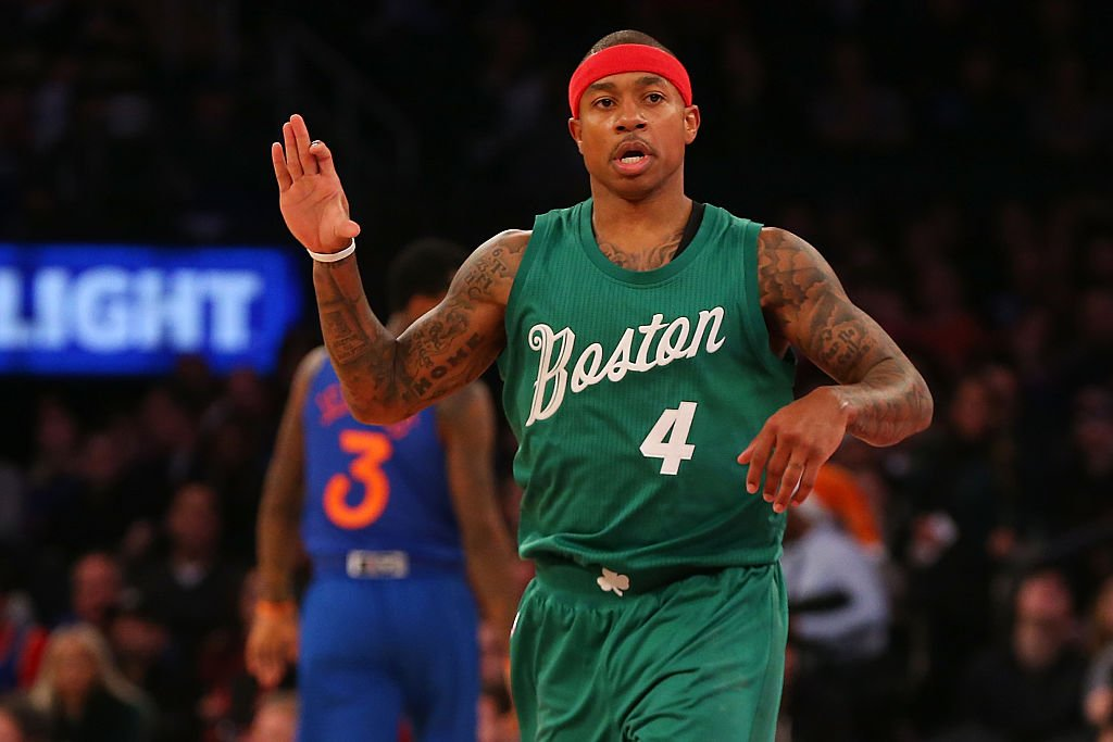 Isaiah Thomas reacts after hitting a 3-pointer against the Knicks at Madison Square Garden on Christmas Day. (Getty Images)